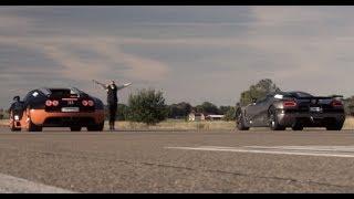 Ultra HD 4K RACE from dig 1200 HP Bugatti Veyron Vitesse vs Koenigsegg Agera R- presented by Samsung
