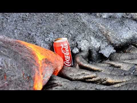 Watching lava destroy Coca Cola cans is totally