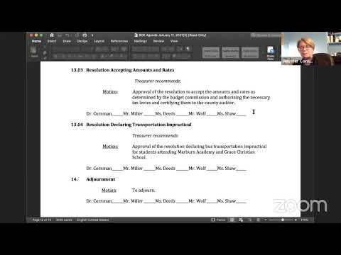 January Virtual Organization and Regular Board Meeting