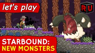 Watch us fight all 54 of the new biome-specific unique monsters introduced in the Starbound Glad Giraffe combat update.