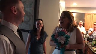 """A woman received two epic surprises this month as she got engaged and married in the same night. Lorenzo Trujillo told his girlfriend, Jenn, that they were going on a date. But little did she know, he had been coordinating a surprise wedding for them. The couple went to a wine bar where Trujillo popped the question and she said, """"Yes!"""" But the surprises were not over, as the newly engaged couple left the bar and proceeded to a neighbor's house where they would be pronounced husband and wife."""