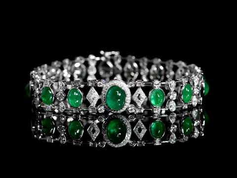 Lady's 18k White Gold 14ct (TW) Emerald and Diamond Bracelet