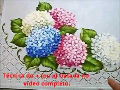 Folha da Hortênsia - Hydrangeas - Pintura em Tecido - Now with English su