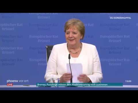 Bundeskanzlerin Angela Merkel zur Vertagung des EU-Sond ...