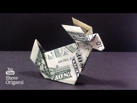 Оригами из денег -  Как сделать кролика из доллара - DomaVideo.Ru