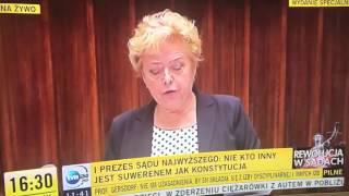 Mocne przemówienie prezes Sądu Najwyższego. Posłowie PiS próbowali wyprowadzić Małgorzatę Gersdorf z równowagi