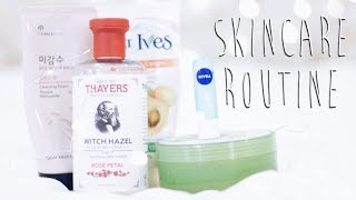 OPEN FOR MORE INFO ♡Hey guys! Long time no see! I've been trying to get my life together but I figured out most so hopefully I'll be way better at my Youtube game this summer! Today's video is highly requested, which is my skincare routine! This routine kept my combination oily skin under control and helped with reducing most of my blemishes. Hope you guys can find some use out of this video!+SUBSCRIBE - http://bit.ly/1m5FKNh+WATCH - A Basic Guide to Brush Lettering: https://www.youtube.com/watch?v=sjOE6XlnNvE+WATCH - How to Be Productive and Organized: https://www.youtube.com/watch?v=oInl5ZAmfUgPRODUCTS MENTIONED+ The Face Shop Rice Water Bright Cleansing Foam+ St. Ives Blemish Control Apricot Scrub+ Dr. Thayers Rose Witch Hazel+ Nature Republic Aloe Vera+ Nivea Mint and Minerals Lip Balm--MUSIC USED+Love Mode - Joakim Kurad+All rights go to respective artists/owners. No copyright intended.-- SOCIAL MEDIA+Instagram: @maybemiyt+Twitter: @maybemiyt+Snapchat: @singingfood+For business inquiries, email me at maybemiyt@gmail.com--F.A.Q+Camera: Canon Rebel t5i/700d+Lens: Canon EF 50mm f/1.4+Editor: Adobe Premier Pro CC--Disclaimer: I have bought all of these products with my own money! This video isn't sponsored nor am I being paid to review. All opinions are my own!