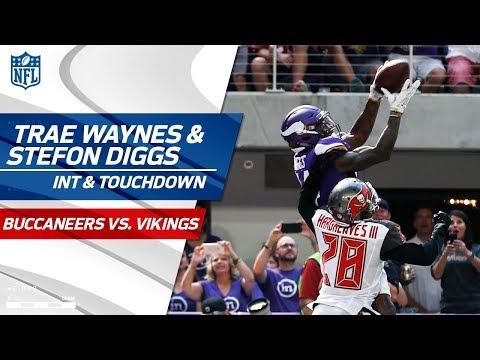 Video: Trae Waynes' Big INT Leads to Stefon Diggs' Great Grab & TD | Bucs vs. Vikings | NFL Wk 3 Highlights