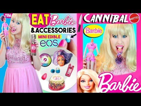 DIY Edible Barbie Doll, Phone Case, EOS, Beauty Blender, Foundation | Cannibal Barbie EATS Skipper! (видео)