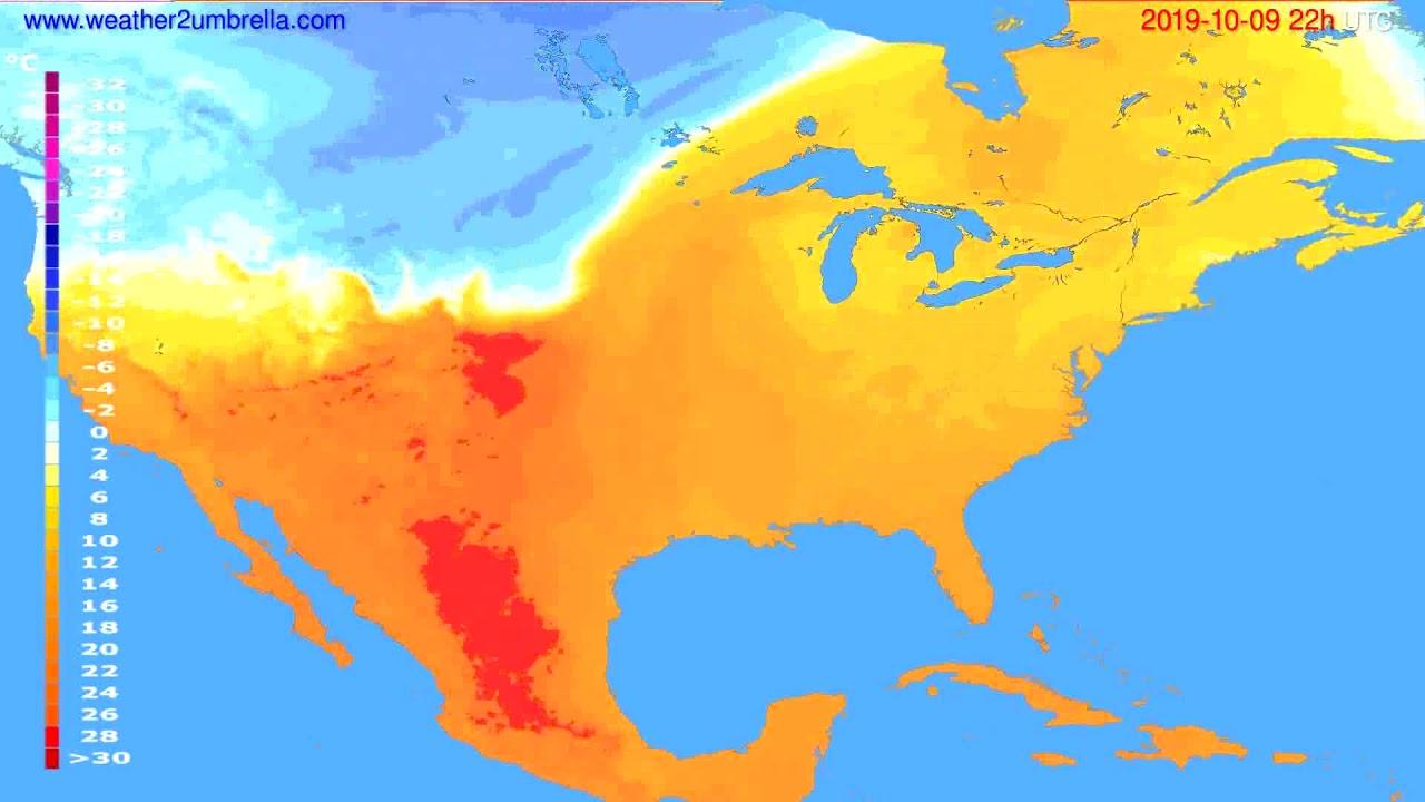 Temperature forecast USA & Canada // modelrun: 00h UTC 2019-10-07