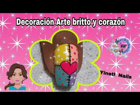 Decoracion de uñas - decoración de uñas corazón  en arte britto