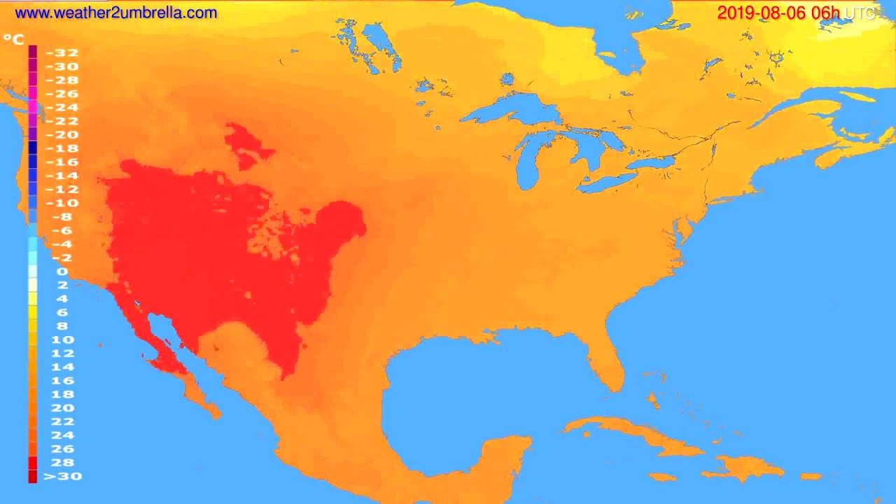 Temperature forecast USA & Canada // modelrun: 12h UTC 2019-08-03