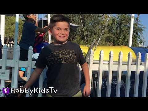VACATION! Bungee Jumpoline + Paddle Boats n' Ferris Wheel Family Fun. Toys n' Train Ride HobbyKidsTV (видео)