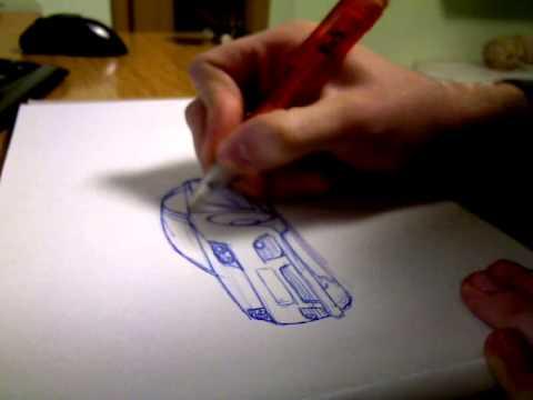 Autos zeichnen mit dem Kugelschreiber