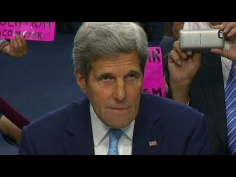 gets - Secretary of State John Kerry gets heckled while testifying before Congress, speaking about the U.S. war on ISIS.