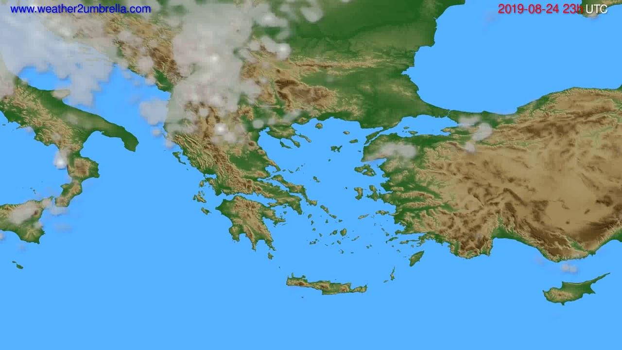 Cloud forecast Greece // modelrun: 12h UTC 2019-08-21