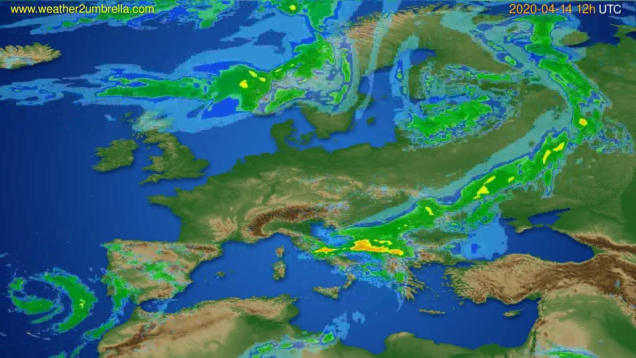 Radar forecast Europe // modelrun: 00h UTC 2020-04-14