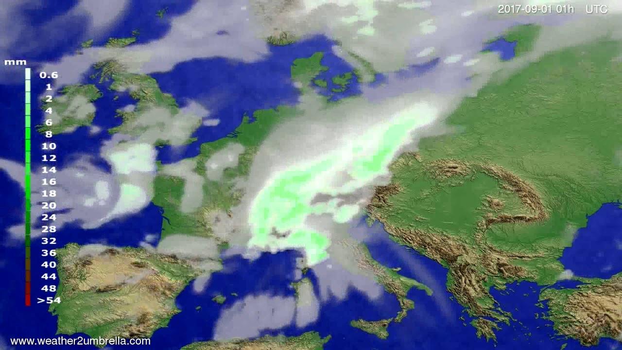 Precipitation forecast Europe 2017-08-29