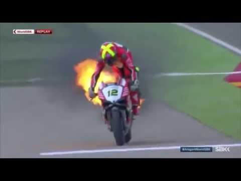 SHOCKING NEWS | WORLDSBK RACE 1 ARAGON XAVI FORES DUCATI ON FIRE