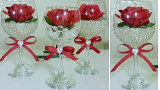 DOLLAR TREE WINE GLASS CENTERPIECE | INEXPENSIVE DIY | BLING AND GLAM DECOR