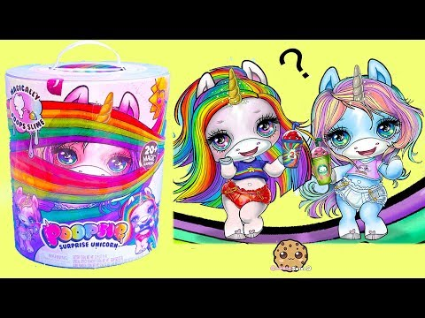 Giant Rainbow Surprise Unicorn Baby ! Feed Glitter + Make Slime - Blind Bags (видео)