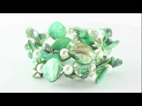 Silver Tone Green Shell And Simulated Pearl Necklace, Bracelet And Pierced Earring Set