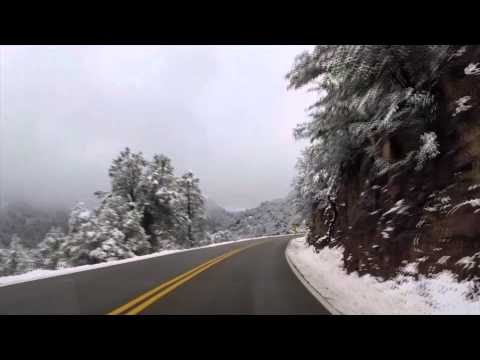 Mingus Mountain Scenic Road in Snow (видео)