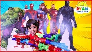 Ryan Pretend play with Avengers Infinity War Superhero Toys Hide and Seek