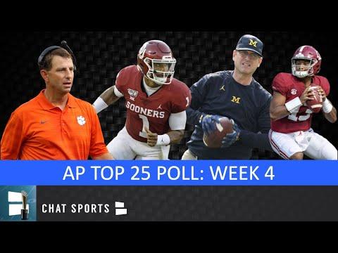 AP Poll: College Football Top 25 Rankings For Week 4