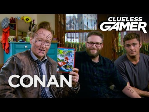 Conan Plays 'Mario Cart' With Seth Rogen And Zac Efron