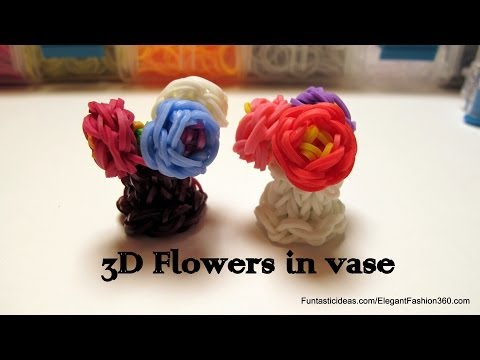 Rainbow Loom 3D Mini Flowers in Vase charm – How to – Mother's Day Gift Idea