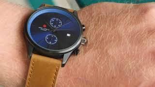 Sem Lewis Metropolitan Finchley chronograph men's watch gunmetal/cognac