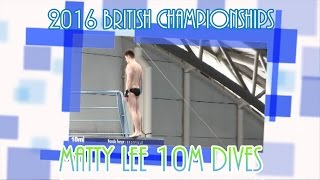 All of Matty's individual 10M dives as he wins silver at the British Championships.