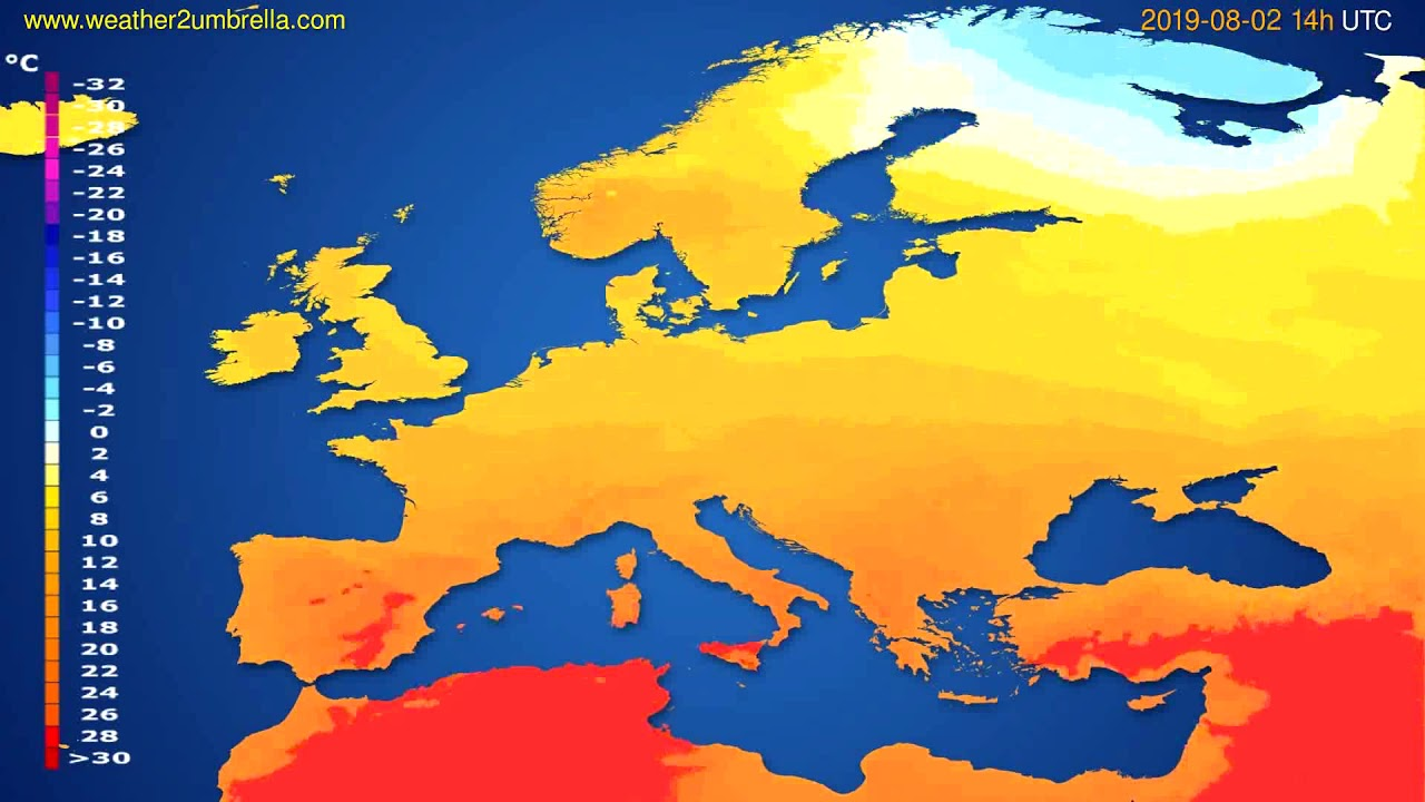Temperature forecast Europe // modelrun: 12h UTC 2019-07-30