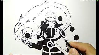 cara menggambar naruto kyubi mode super gampang / how to draw naruto easy way