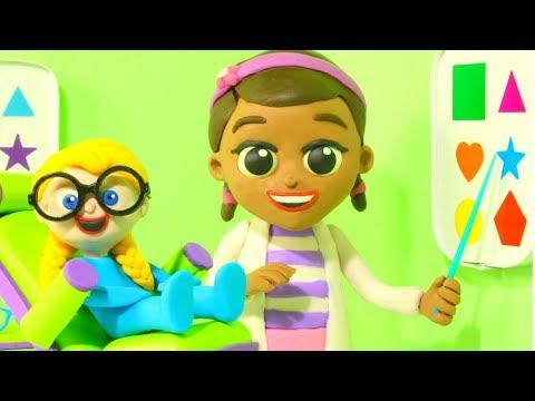 Play doh - Little Girl Visits Eye Doctor  Cartoons For Kids