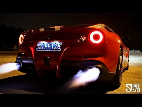 ferrari f12 berlinetta - loud revs and flames
