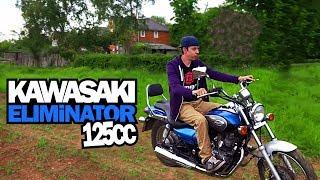 9. Having a go on the Kawasaki Eliminator 125cc in the field