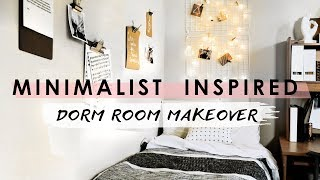 MINIMALIST DORM ROOM MAKEOVER + hacks and tips!