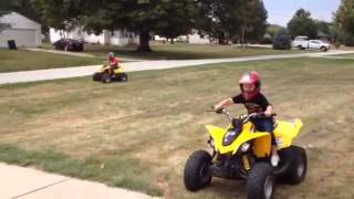 4. The kids riding their Can Am DS 70 and 90