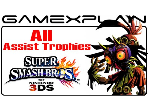 All! - Update* We missed a few! Click here for our updated video: http://youtu.be/3WLyN9cBbfg Check out gameplay of every Assist Trophy item in Super Smash Bros. 3DS, including Dark Samus, Chain...