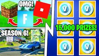 Fortnite x Roblox x Minecraft, 15 000 Prizes (VBUCKS), Season 6!