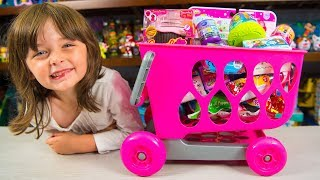 Video HUGE Shopping Cart Toy filled with Surprises Toys for Girls Surprise Eggs Blind Bags Kinder Playtime MP3, 3GP, MP4, WEBM, AVI, FLV Agustus 2017