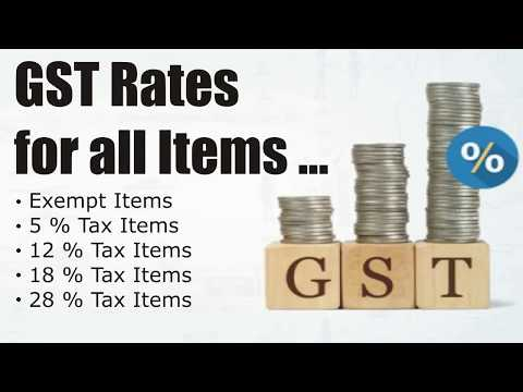 GST Rates for all Items : 0%, 5%, 12%, 18%, 28% GST Tax Items