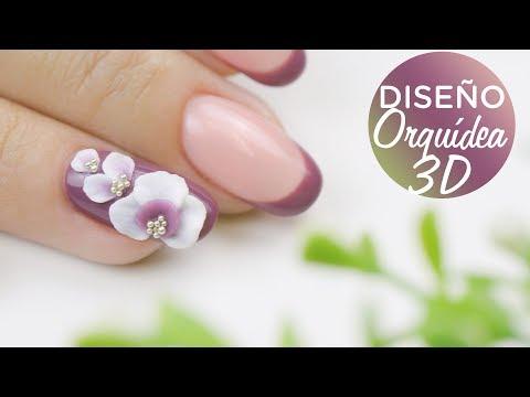 Diseños de uñas - Orquídea 3D en uñas de gel  Manicura24