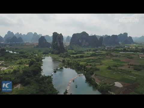 Stunning! Aerial view of China's Yangshuo, the most beautiful landscape in the world