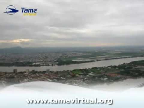 Landing in Guayaquil Ecuador Embraer 190 Tame