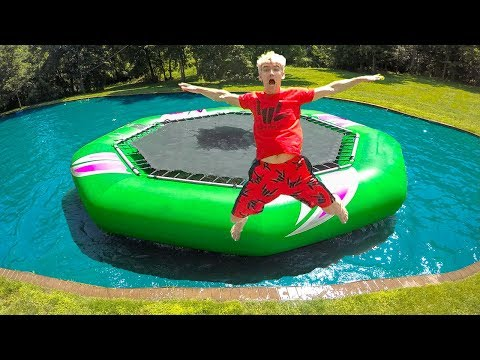 WORLDS BIGGEST INFLATABLE BACKYARD WATER TRAMPOLINE!!