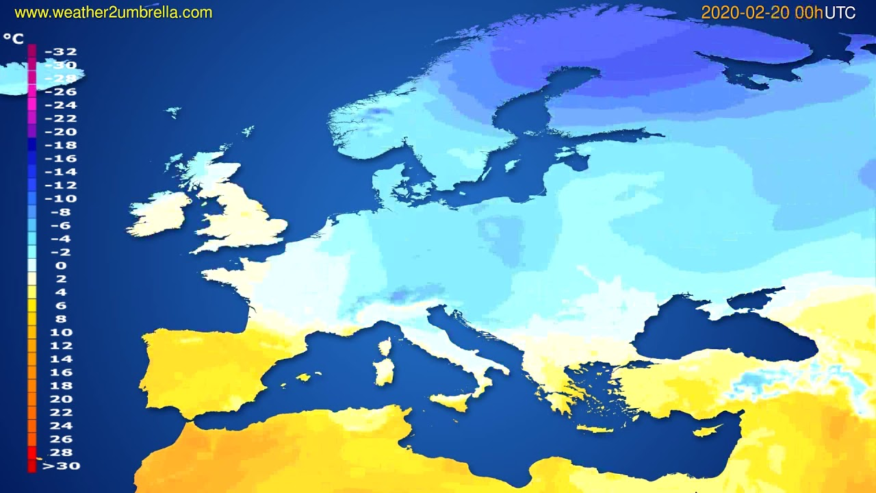 Temperature forecast Europe // modelrun: 00h UTC 2020-02-19