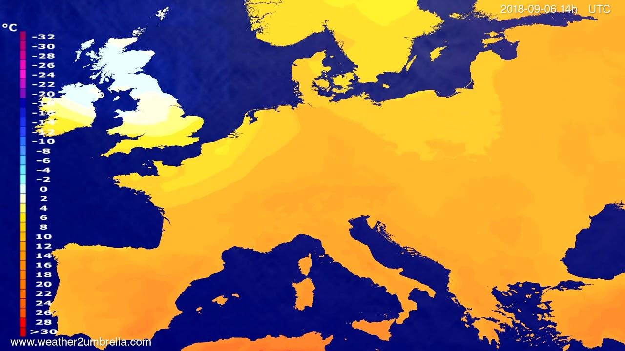 Temperature forecast Europe 2018-09-04